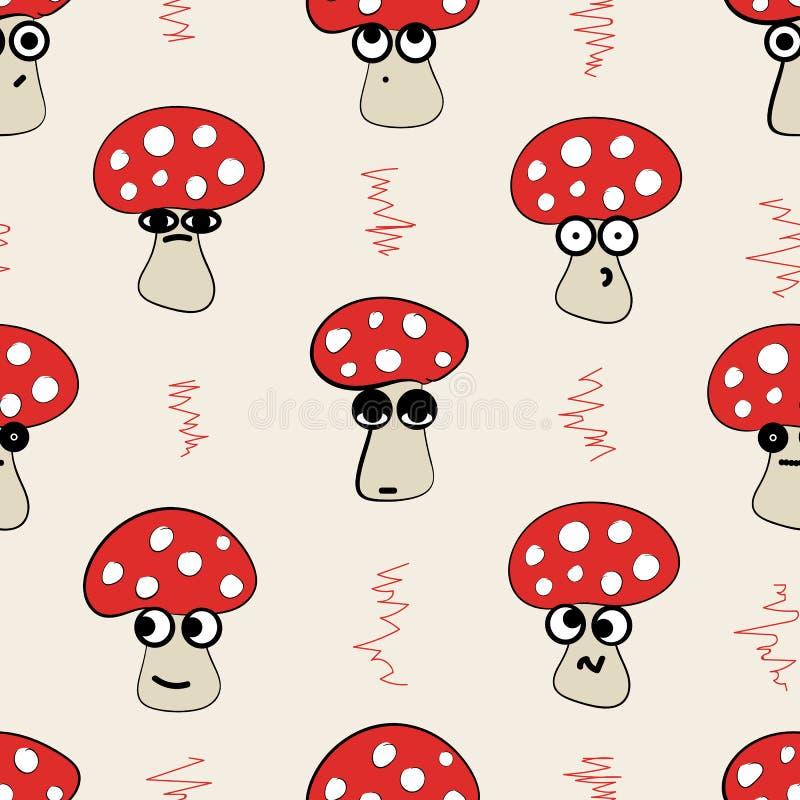 Безшовные эмоциональные пластинчатые грибы мухы иллюстрация штока