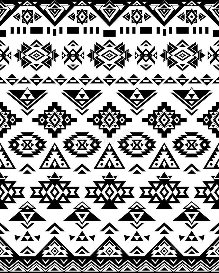 Безшовные этнические текстуры картины черные & белые цветы Печать Навахо геометрическая иллюстрация вектора