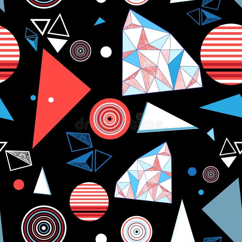 Безшовные яркие геометрические треугольники и круги картины иллюстрация вектора
