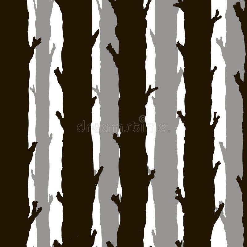 Безшовные monochrome стволы дерева иллюстрация штока