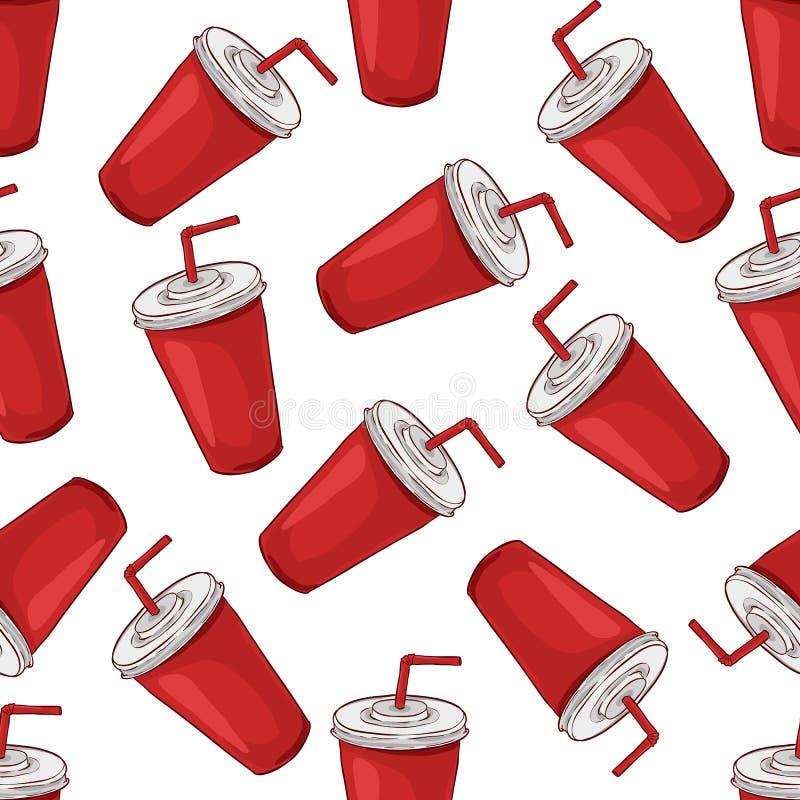 Безшовные scetch и цвет чашки колы картины иллюстрация штока