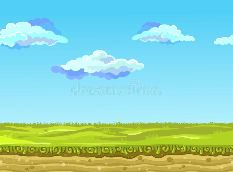 Безшовный ландшафт, иллюстрация вектора стоковые фотографии rf