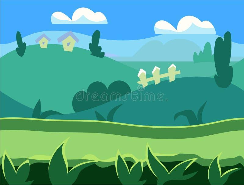 Безшовный ландшафт природы шаржа, бесконечный иллюстрация вектора
