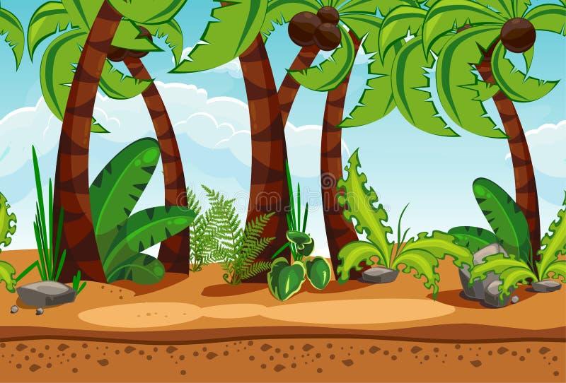 Безшовный ландшафт пляжа с пальмами иллюстрация штока