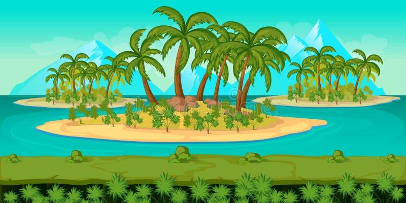 Безшовный ландшафт пляжа шаржа, vector бесконечная предпосылка с отделенными слоями для игры иллюстрация вектора
