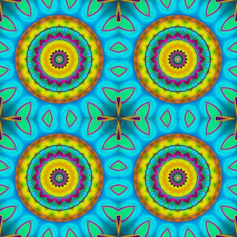 Безшовный апельсин желтого цвета бирюзы картины концентрических кругов бесплатная иллюстрация