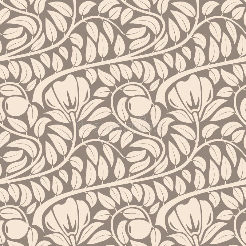Безшовный бежевый цветочный узор. бесплатная иллюстрация