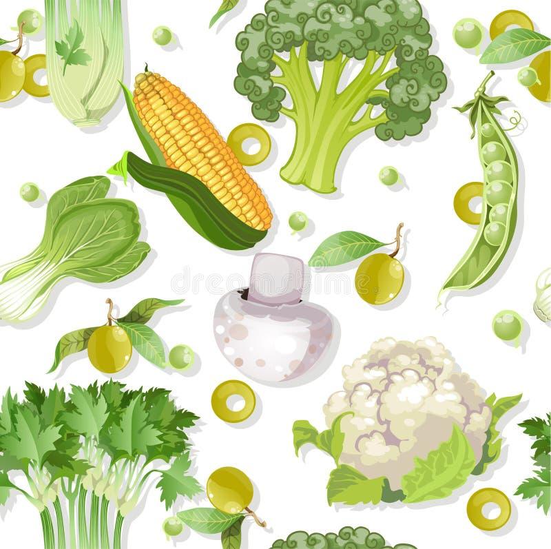 Безшовный вегетарианский зеленый орнамент иллюстрация штока