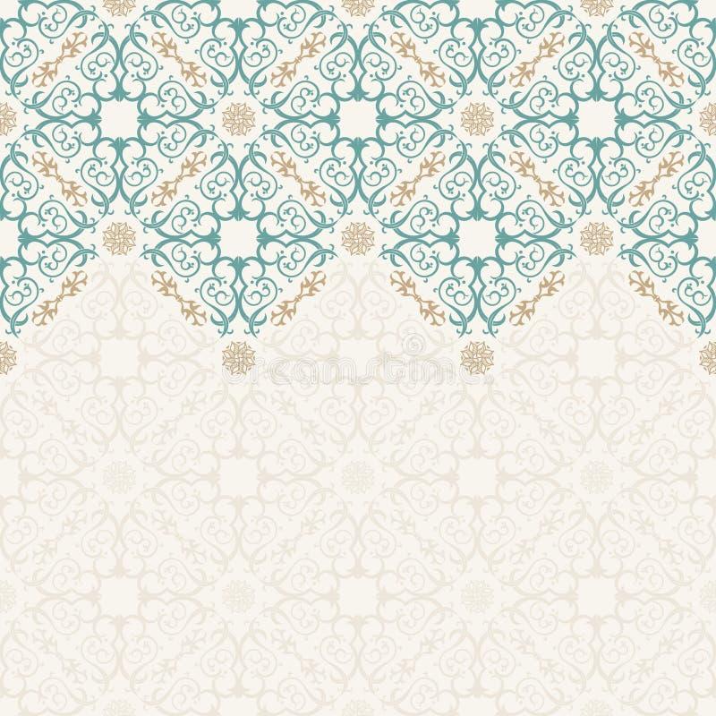 Безшовный вектор границы богато украшенный в восточном стиле иллюстрация вектора