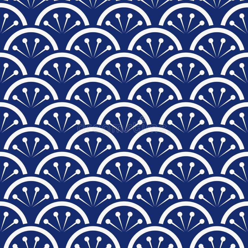 Безшовный вектор сини индиго фарфора и белых японский флористический волн картины иллюстрация вектора