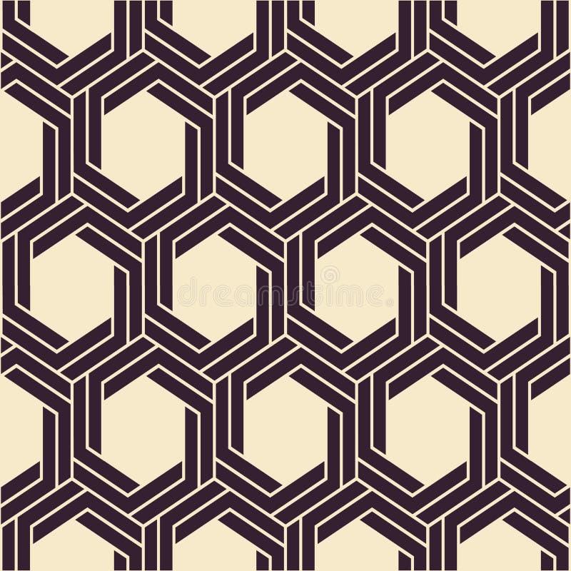 безшовный вектор текстуры абстрактная предпосылка самомоднейшая Monochrome геометрическая картина с шестиугольниками иллюстрация штока