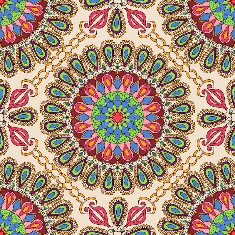 безшовный вектор текстуры Красивая картина мандалы для дизайна и мода с декоративными элементами в этническом индийском стиле иллюстрация вектора