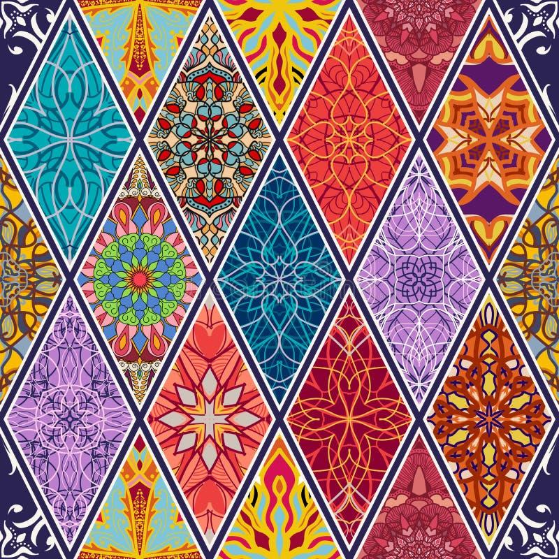безшовный вектор текстуры Красивая мега картина мозаики заплатки для дизайна и мода с декоративными элементами в косоугольнике иллюстрация штока