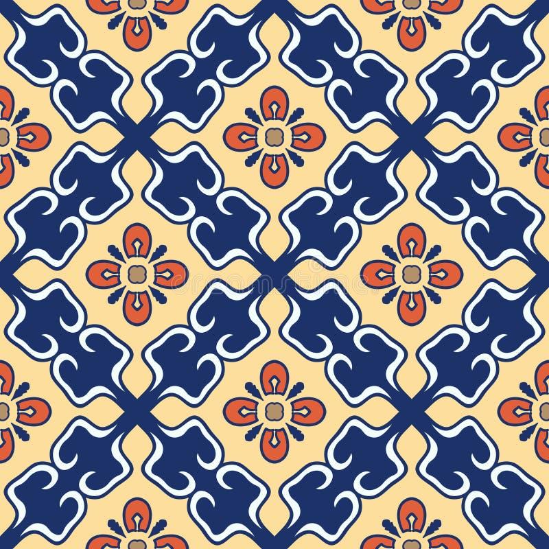 безшовный вектор текстуры Красивая покрашенная картина для дизайна и мода с декоративными элементами португальско иллюстрация вектора