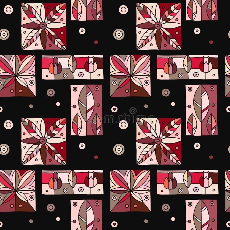 Безшовный вектор темный - картина с геометрическими мотивами, цветки красной декоративной руки вычерченная Графический винтажный  иллюстрация штока