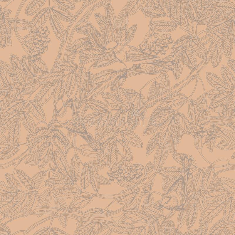 Безшовный винтажный цветочный узор с листвой рябины, ягодами и птицами молочницы бесплатная иллюстрация