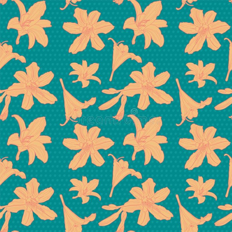 Безшовный винтажный цветочный узор с оранжевой лилией стоковое фото rf