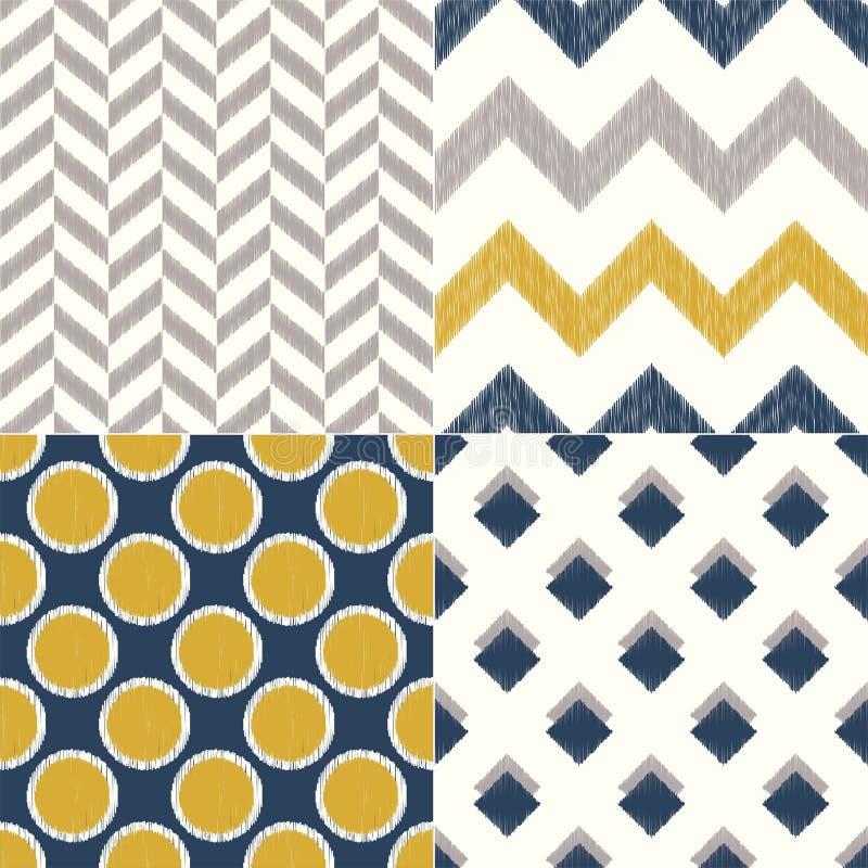 Безшовный военно-морской флот и желтая геометрическая картина предпосылки ткани для домашнего дизайна интерьера иллюстрация вектора