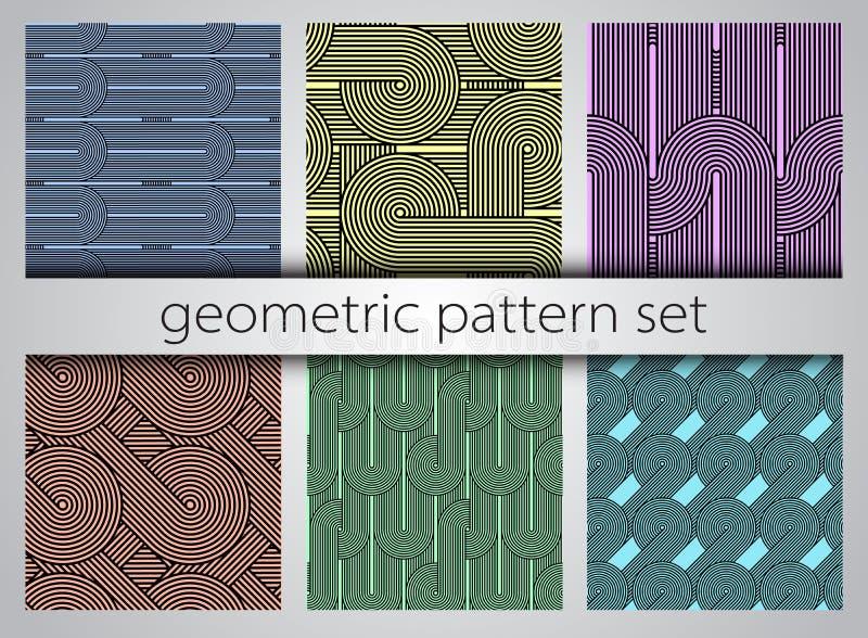 Безшовный геометрический комплект картины Геометрические простые печати иллюстрация штока
