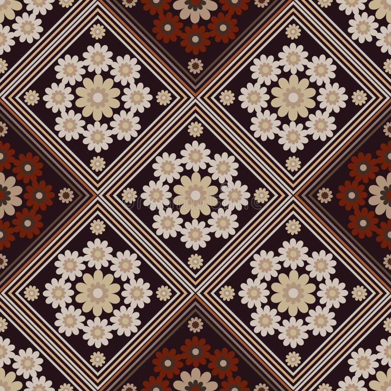 Безшовный геометрический косоугольник картины, бежевых и коричневых с необыкновенными цветками иллюстрация штока