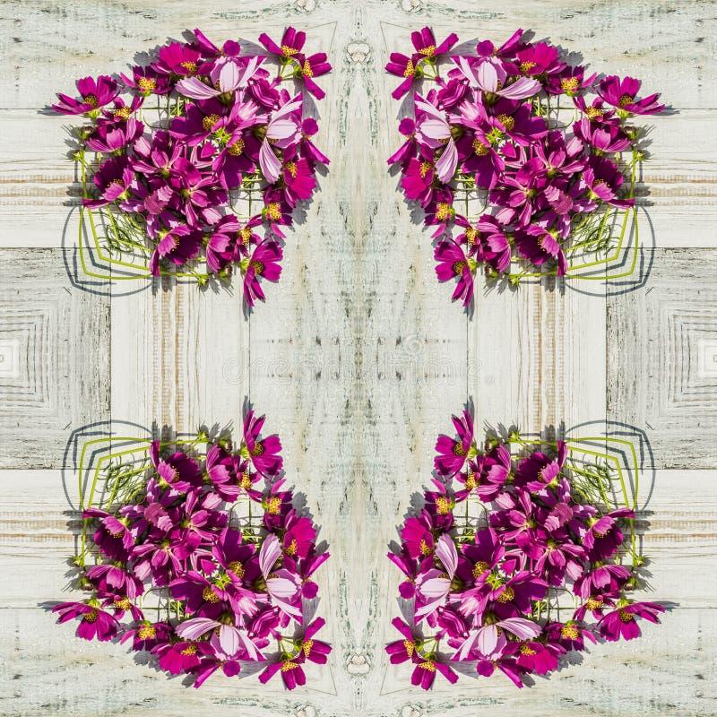 Безшовный геометрический цветочный узор розовых wildflowers стоковое изображение rf