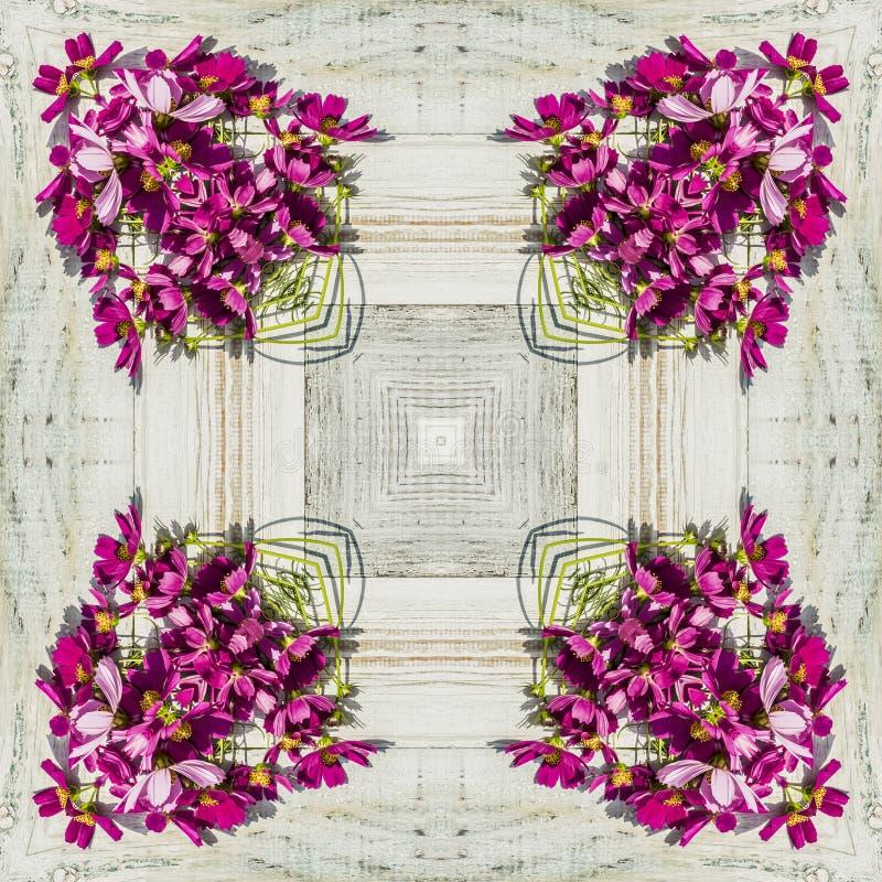 Безшовный геометрический цветочный узор розовых wildflowers стоковое фото