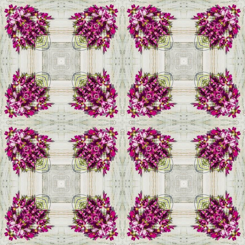 Безшовный геометрический цветочный узор розовых wildflowers стоковая фотография rf