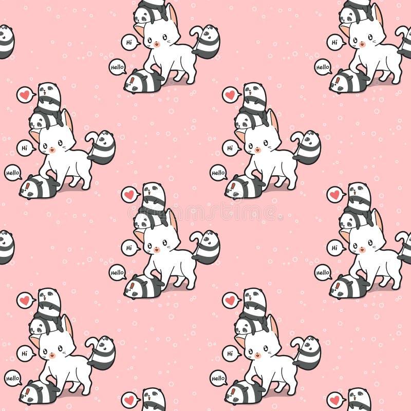 Безшовный гигантский кот и небольшая картина панд бесплатная иллюстрация