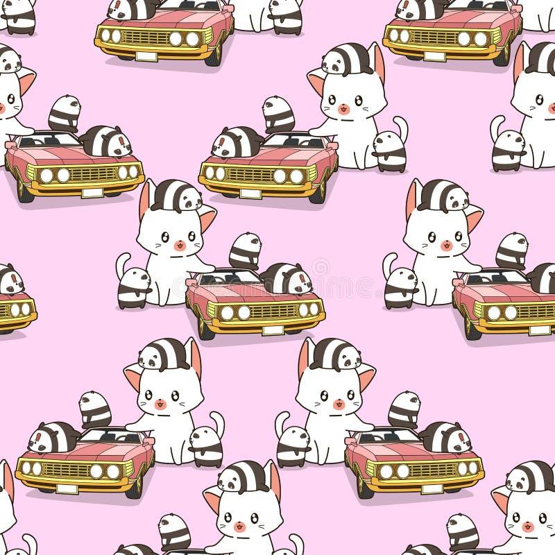 Безшовный гигантский кот и небольшие панды с розовой картиной автомобиля бесплатная иллюстрация