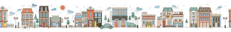 Безшовный горизонтальный городской ландшафт с улицей города Городской пейзаж с красивыми зданиями, жилыми домами, магазинами иллюстрация вектора