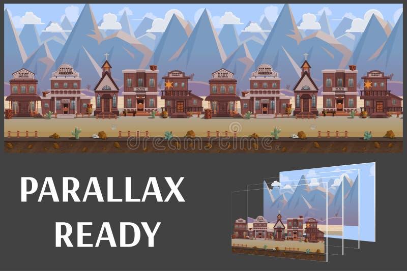 Безшовный городок Диких Западов шаржа, западный ландшафт, vector бесконечная предпосылка с отделенными слоями иллюстрация вектора