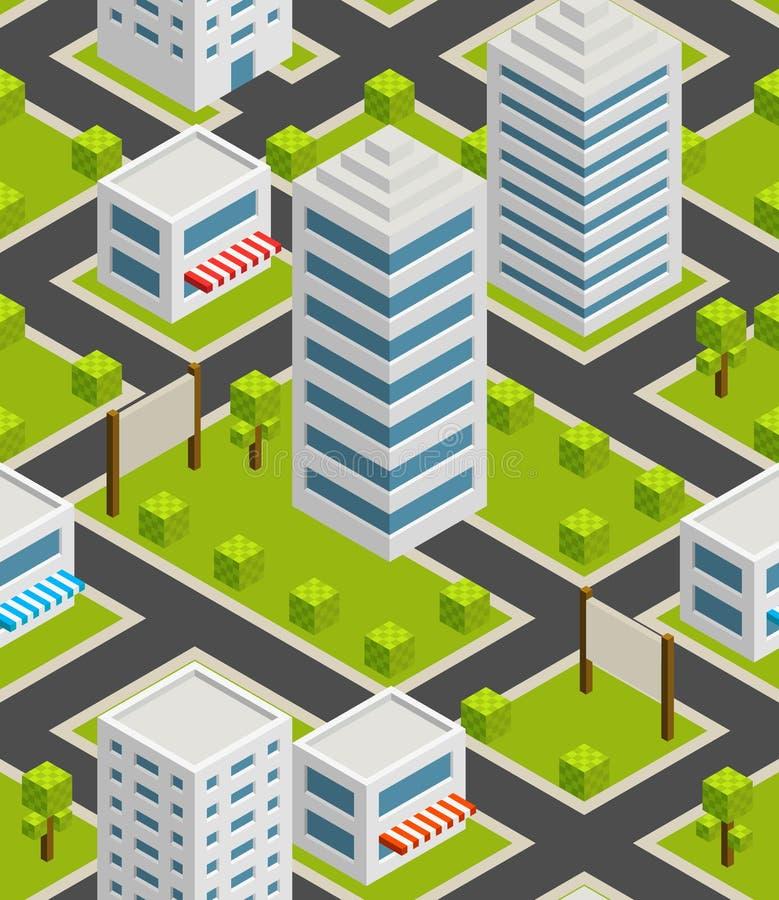 Безшовный город предпосылки равновелико иллюстрация вектора