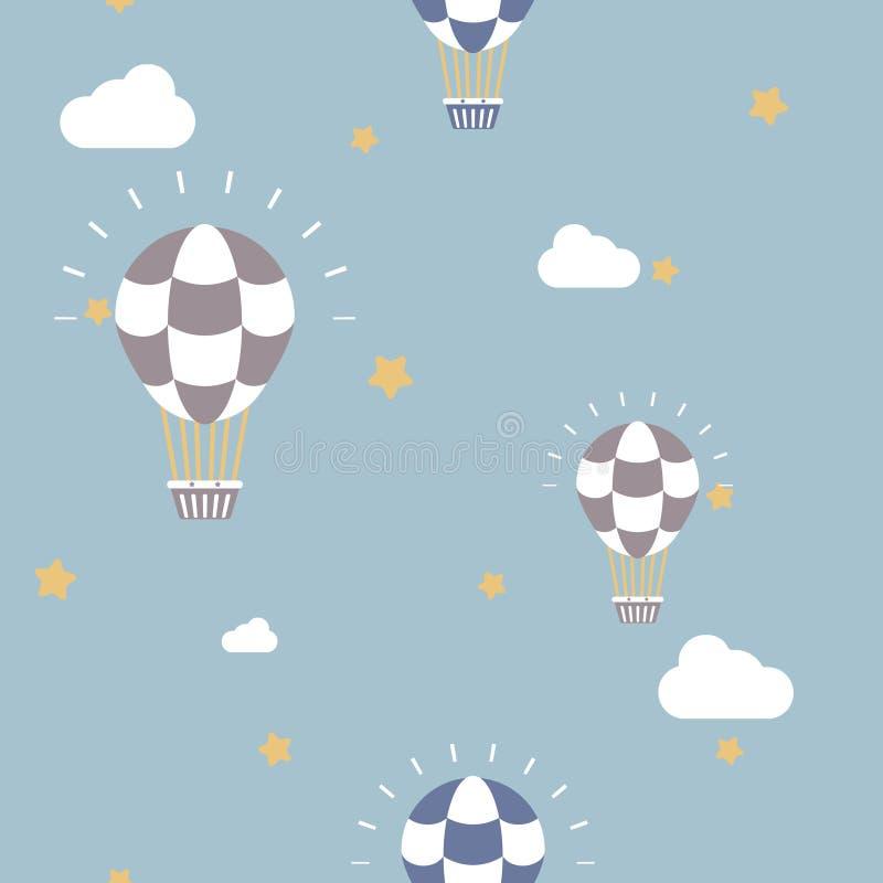 Безшовный горячий воздушный шар с предпосылкой картины повторения неба, облака и звезды иллюстрация вектора