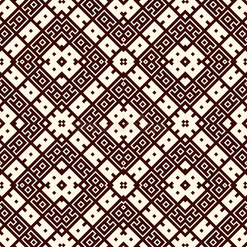 Безшовный дизайн картины с этническим орнаментом Мотив вышивки Старые орнаментальные обои Повторенные геометрические формы иллюстрация штока