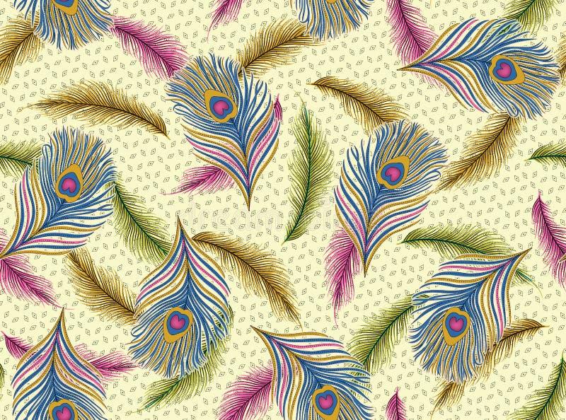 Безшовная картина пера павлина иллюстрация вектора