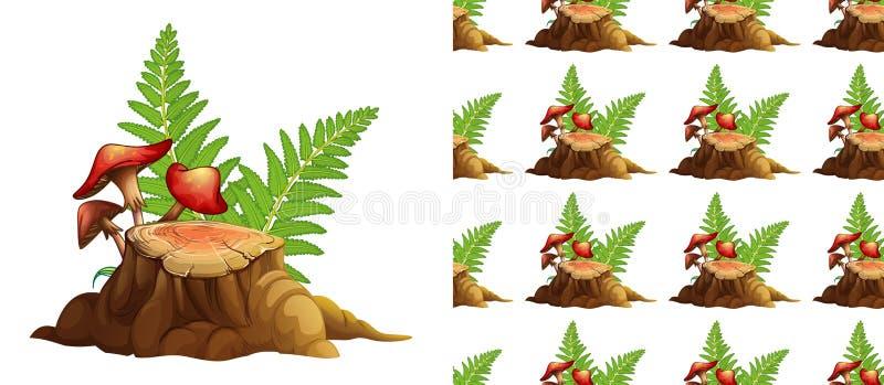 Безшовный дизайн предпосылки с грибами и древесиной пня иллюстрация штока