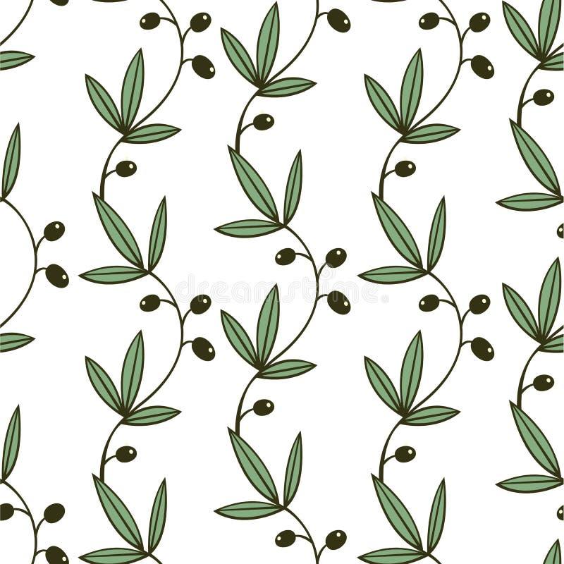 Безшовный зеленый цветочный узор с оливковыми ветками иллюстрация штока