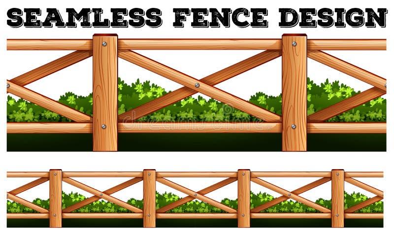 Безшовный дизайн загородки вдоль куста бесплатная иллюстрация