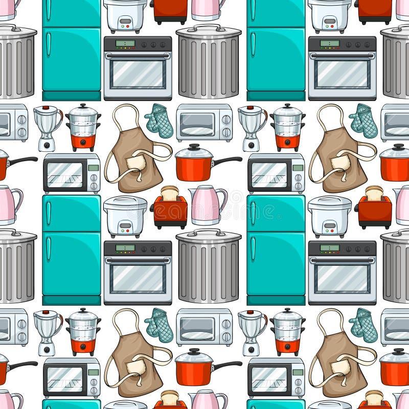 Безшовный дизайн обоев с kitchenwares иллюстрация штока
