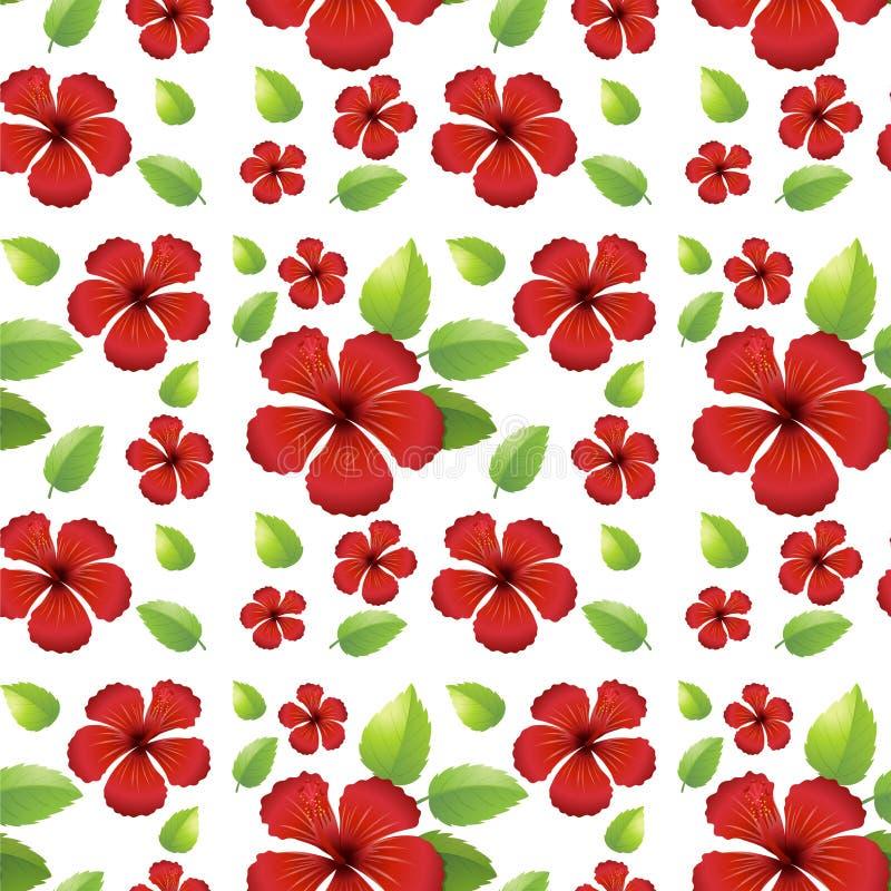 Безшовный дизайн предпосылки с красными цветками иллюстрация штока