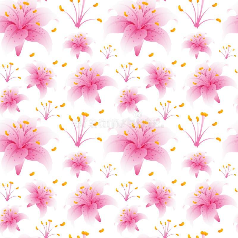 Безшовный дизайн предпосылки с розовыми цветками лилии иллюстрация штока