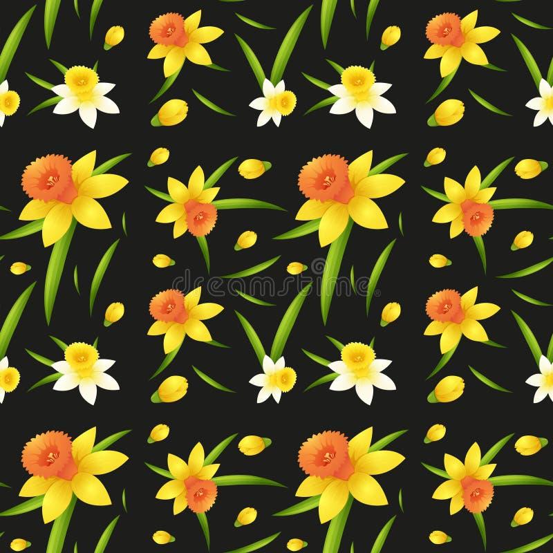 Безшовный дизайн предпосылки с цветками daffodil иллюстрация вектора