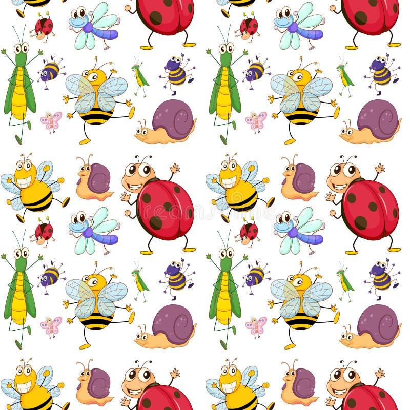 Безшовный дизайн с насекомыми иллюстрация вектора