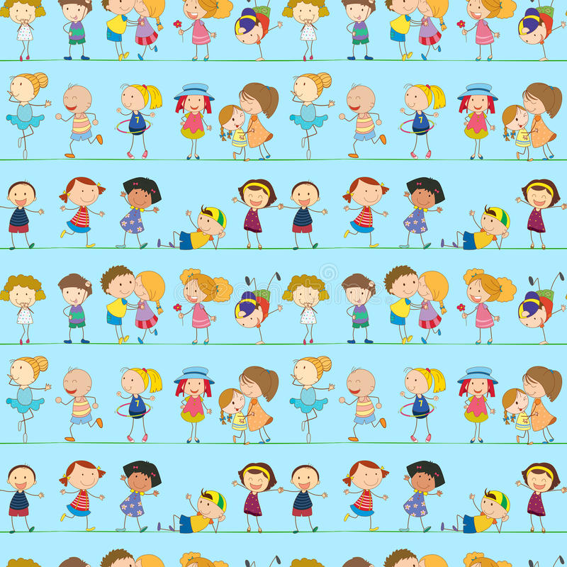 Безшовный дизайн с шаловливыми детьми иллюстрация вектора