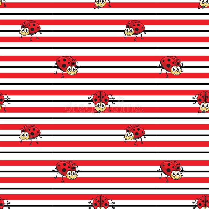 Безшовный дизайн с ladybugs иллюстрация вектора