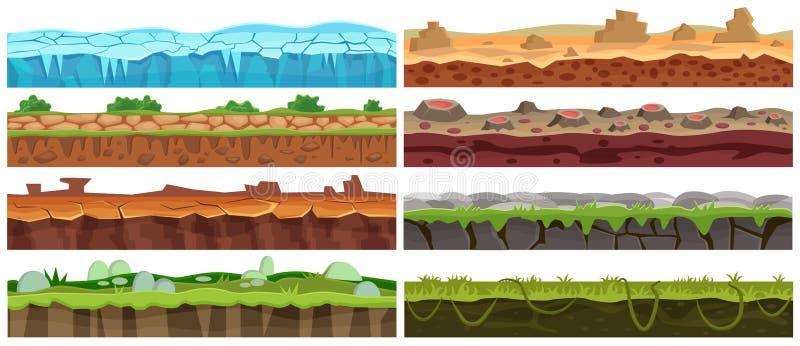Безшовный комплект дизайна ландшафта вектора шаржа Собрание первого этажа для интерфейса игры бесплатная иллюстрация