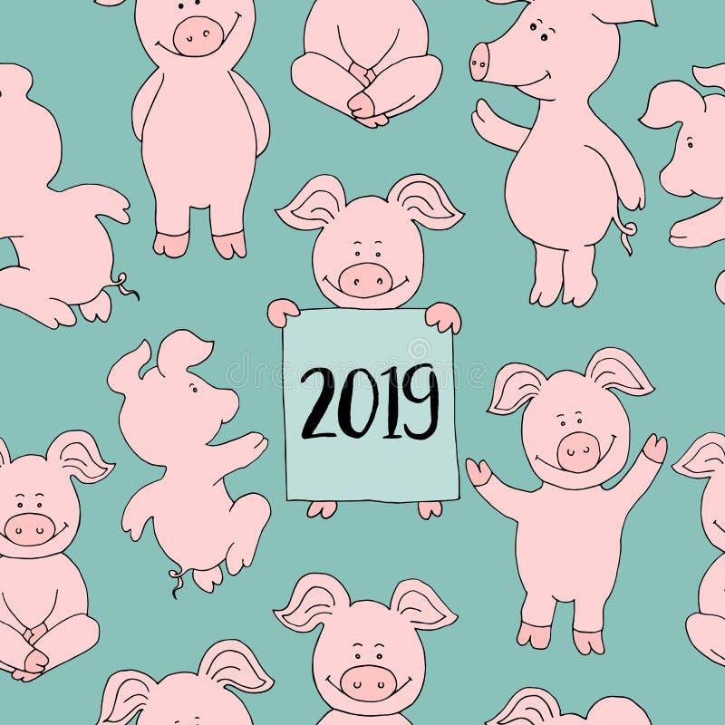 Безшовный комплект собрания свиньи поздравительная открытка Нового Года знамени счастливая бесплатная иллюстрация