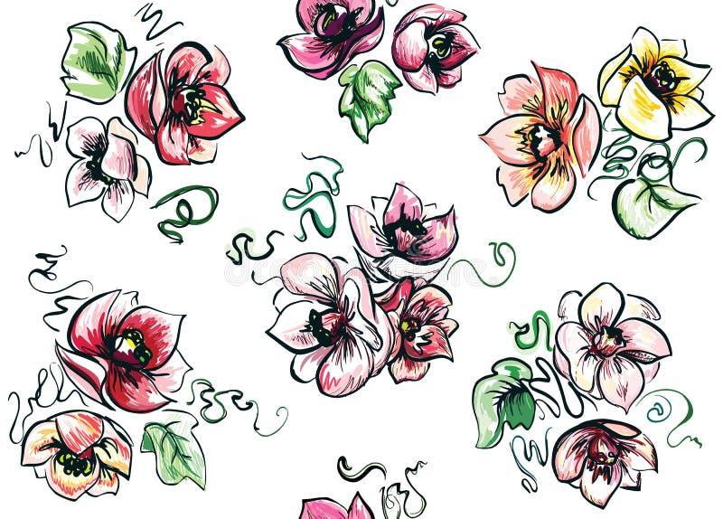 Безшовный комплект покрашенных букетов lush иллюстрация штока
