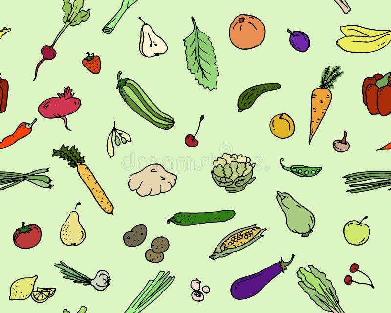 Безшовный комплект эскиза фруктов и овощей картины бесплатная иллюстрация