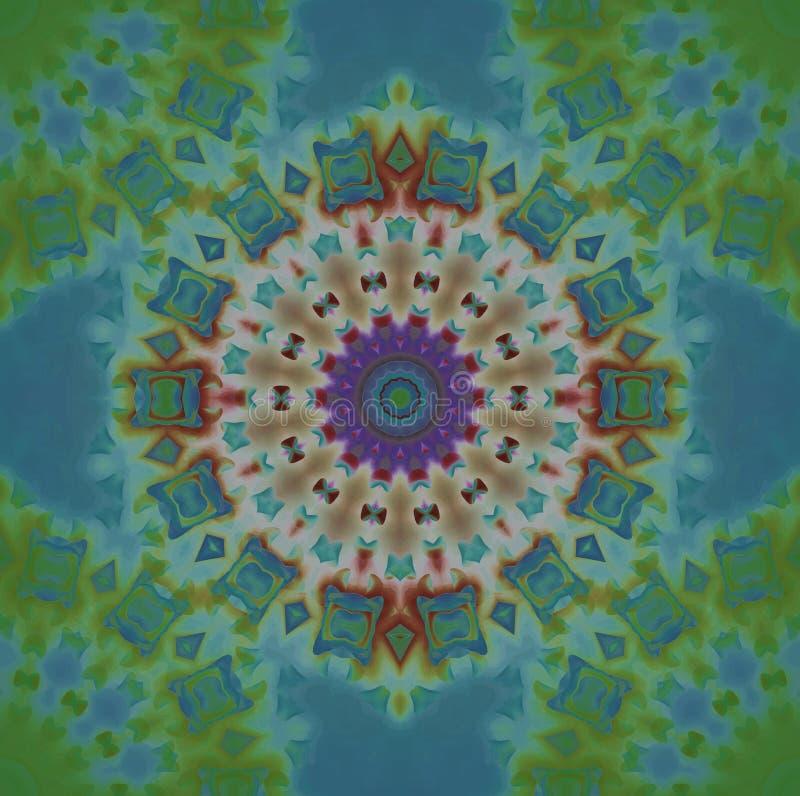 Безшовный концентрический орнамент голубой и войденная зеленая иллюстрация штока